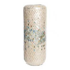 Blue Diamond Mosaic Vase, 18 in.