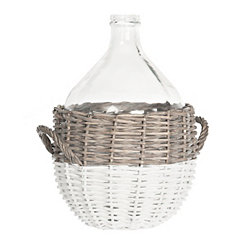 Glass Vase in Willow Basket