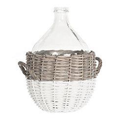 Glass Vase in Willow Basket