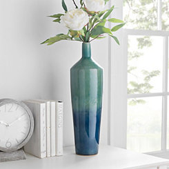 Aqua Ombre Ceramic Vase, 18 in.