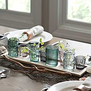 Wood and Assorted Glass Votive Runner