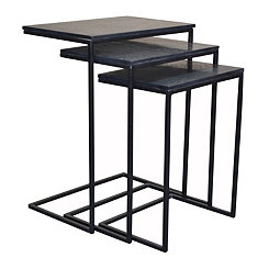 Brennan Slate and Metal Nesting Tables, Set of 3