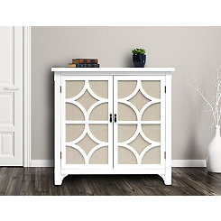 White Blair Linen Lined 2-Door Cabinet