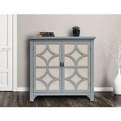 Gray Blair Linen Lined 2-Door Cabinet