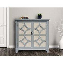 Gray Blair Linen Lined 2-Door Cabinet