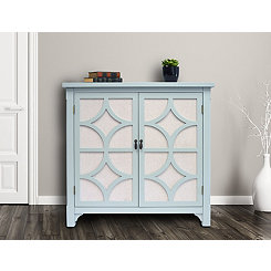 Turquoise Blair Linen Lined 2-Door Cabinet