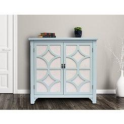 Turquoise Blair Linen Lined 2-Door Cabinet