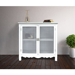 White Gracie Mesh Front 2-Door Cabinet
