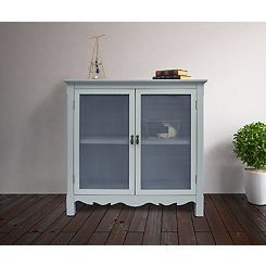 Gray Gracie Mesh Front 2-Door Cabinet