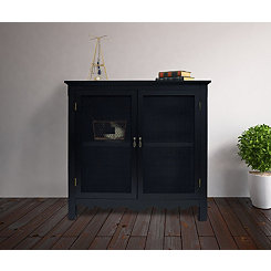 Black Gracie Mesh Front 2-Door Cabinet