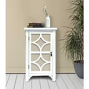 White Blair Linen Lined 1-Door Side Table