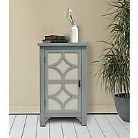 Gray Blair Linen Lined 1-Door Side Table