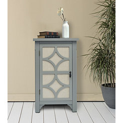 Gray Blair Linen Lined 1-Door Side Table