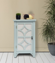 Turquoise Blair Linen Lined 1-Door Side Table