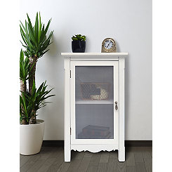 White Gracie Mesh Front 1-Door Side Table