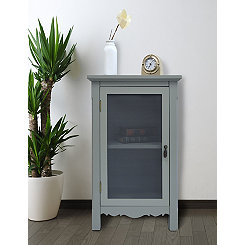 Gray Gracie Mesh Front 1-Door Side Table