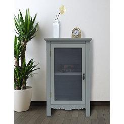 Gray Gracie Mesh Front 1-Door Side Table
