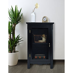 Black Gracie Mesh Front 1-Door Side Table