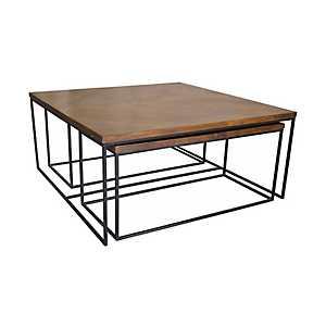 Brock Wood and Metal 3-pc. Coffee Table Set