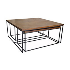 Brock Wood and Metal 3-pc. Coffee Table Set