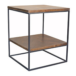 Brock Wood and Metal Accent Table
