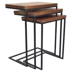 Brock Wood and Metal Nesting C-Tables, Set of 3