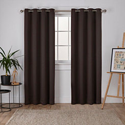 Brown Twill Blackout Curtain Panel Set, 96 in.