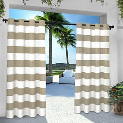 Taupe Stripe Outdoor Curtain Panel Set, 84 in.