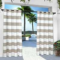 Gray Stripe Outdoor Curtain Panel Set, 84 in.