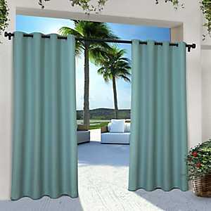 Teal Eliza Outdoor Curtain Panel Set, 96 in.