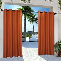 Orange Eliza Outdoor Curtain Panel Set, 96 in.