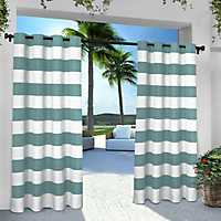 Teal Stripe Outdoor Curtain Panel Set, 96 in.