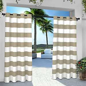 Taupe Stripe Outdoor Curtain Panel Set, 96 in.