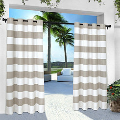 Gray Stripe Outdoor Curtain Panel Set, 96 in.