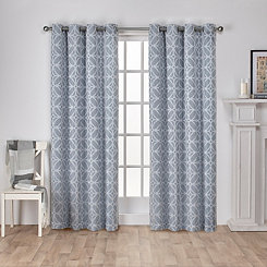 Blue Chrissy Curtain Panel Set, 96 in.