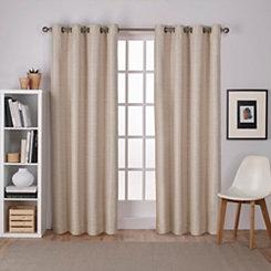 Tan Raw Silk Curtain Panel Set, 84 in.