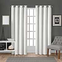 White Velvet Curtain Panel Set, 96 in.
