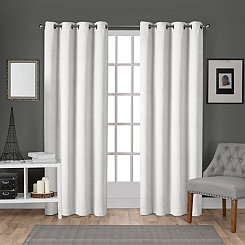 White Velvet Curtain Panel Set, 96 in.