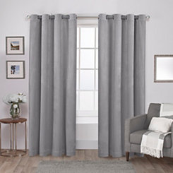 Gray Velvet Curtain Panel Set, 96 in.