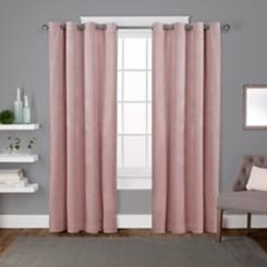 Pink Velvet Curtain Panel Set, 96 in.