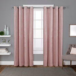 Pink Velvet Curtain Panel Set, 96 in.