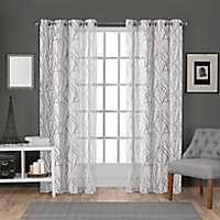 White Ellie Curtain Panel Set, 108 in.