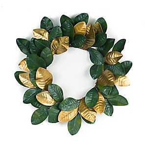 Green and Gold Magnolia Leaf Wreath