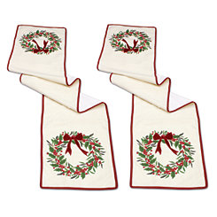 Cream and Red Holly Wreath Table Runner, Set of 2