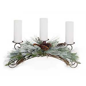 Green and Brown Frosted Pine Candle Holder