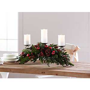 Green and Red Pine with Berry Candle Holder