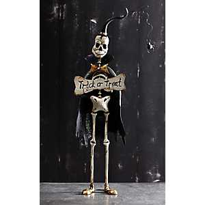Skeleton with Trick or Treat Sign