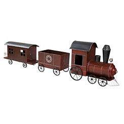 Red and Black Metal Christmas Express Train Statue