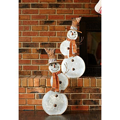 Galvanized Rustic Metal Snowman Statues, Set of 2
