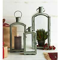 Rounded Gray Metal and Glass Lanterns